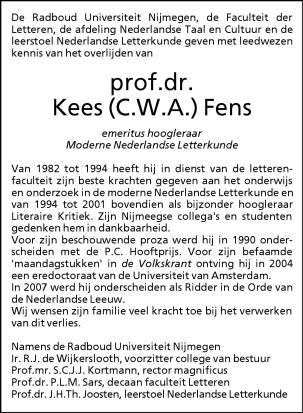 Overlijdensadvertentieprof.dr. Kees (C.W.A.) Fens namens de universiteit in Nijmegen