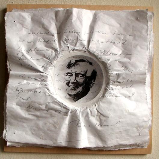 Portret van Kees Fens door Frans Meijers op papier-kunststof