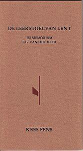 Vooromslag van uitgave 'De leerstoel van Lent' door Kees Fens over de door hem bewonderde schrijver