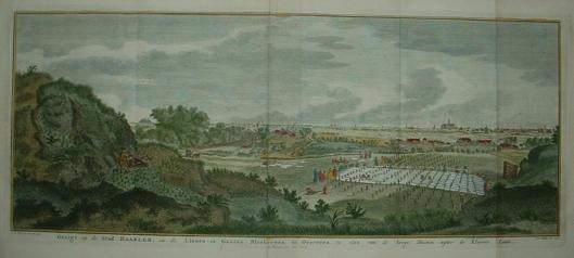 Gezigt op de stad Haarlem en de Gaaren-Linnen Blekerijen te Overveen. 1750. Gravure van J.C.Philips naar een tekening van Jan de Beijer (1746).