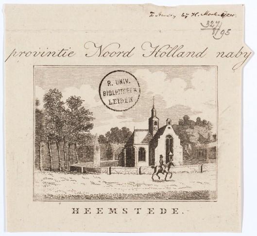 Kopergravure van de Oude Kerk door Hendrik Moolenijzer uit circa 1840 (UB-Leiden)