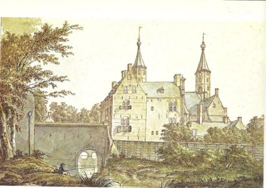 Het Huis te Heemstede omstreeks 1800 enkele jaren voor de afbraak getekend door Wybrand Hendriks (NHA)