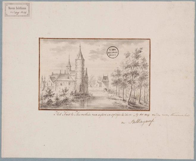 Huis te Heemstede. Tekening van Antonina Houbraken (1686-1736) uit circa 1728 (UB-Leiden)