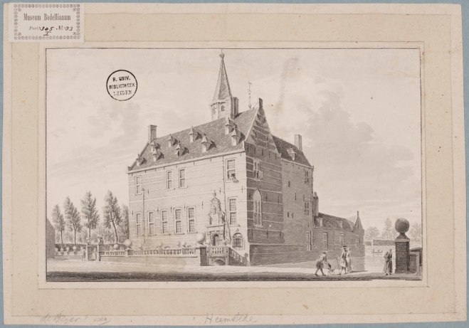 Huis te Heemstede. Tekening door Hendrik Spilman uit omstreeks 1750 (UB-Leiden)