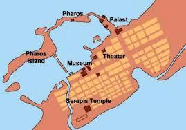 Detailkaart Alexandrië met ligging van Mouseion