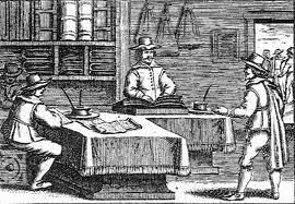 In een 17e eeuws notariskantoor