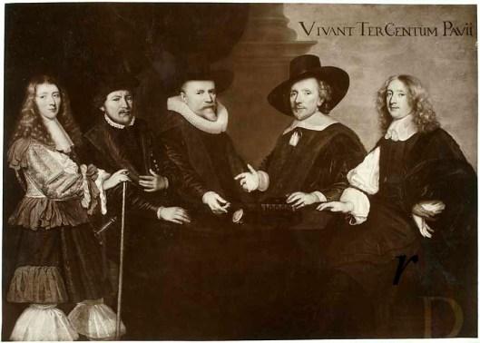 Vijf generaties uit het Goudse/Amsterdamse geslacht Pauw. Van links naar rechts: 1_ Johan Pauw (1645-1708), 2. Adriaen Pauw (1516-1578) = grootvader van Adriaen Pauw, heer van Heemstede, 3. Reinier Pauw (1564-1636 = vader van Adriaen Pauw, 4. Reinier Pauw (1591-1676) = broer van Adriaen Pauw, en 5. Dirk Pauw (1618-1688) = een zoon van voorgaande Reinier Pauw.