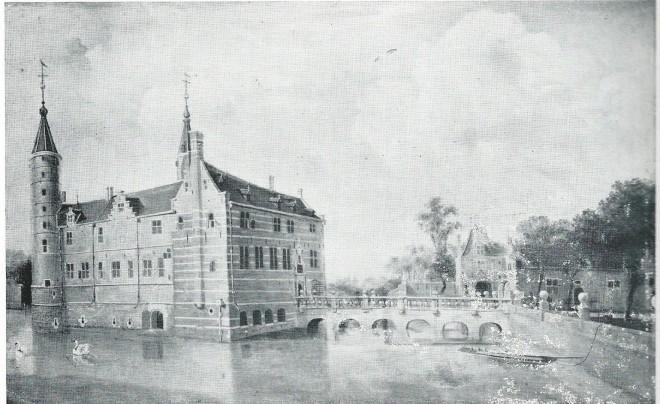 Het Huis te Heemstede. Voorzijde met stenen Vredesbrug en linkervleugel. Ongedateerd schilderij van Claes Pieterszoon van Berghem (1620-1683) uit 1646 of wat later.