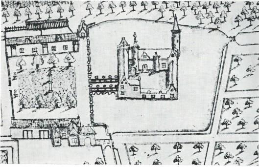 Gezicht in vogelvlucht op het Huis te Heemstede en omgeving, circa 1646. Uit een tekening in het Heerlijkheidsarchief Heemstede (Van Doorninck, nr.178)