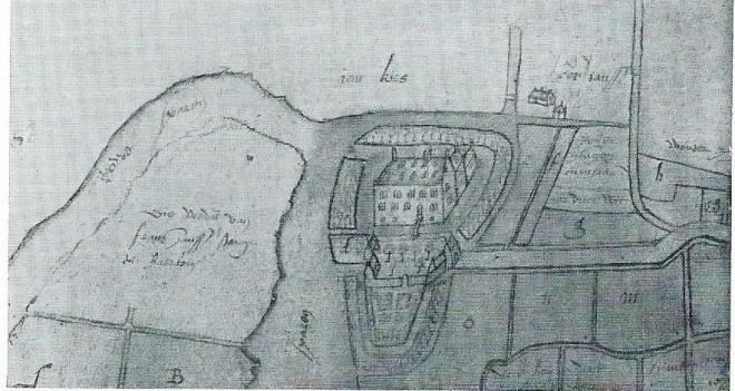 Eén van de oudste afbeeldingen van het Huis te Heemstede op de kaart van Pieter Bruynsz. uit 1589