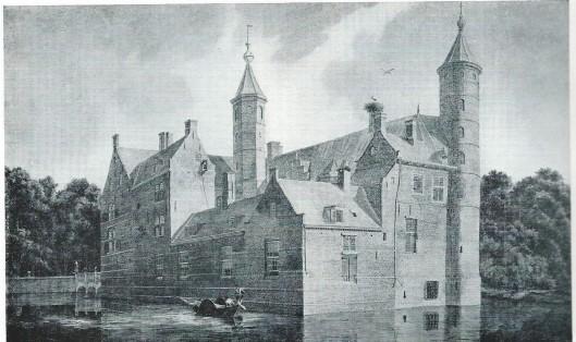 Het Huis te Heemstede omstreeks 1780. Naar een aquarel van F.A.Milatz (Rijksdienst voor de Monumentenzorg)