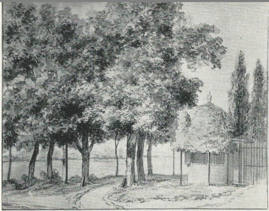 Bij de Geleerde Man. Aquarel door Jurriaan Andriessen omstreeks 1800