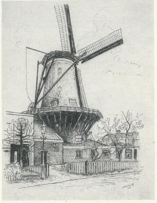 Korenmolen 'de Nachtegaal' aan de Glip te Heemstede. Tekening in oostindische inkt van J.Schotman jr., 1926 (NHA)