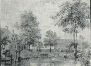 De plaats en kolfbaan achter de Geleerde Man op een aquarel van Jurriaan Andriessen (NH-Archief)