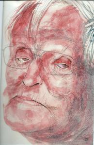 Tekening van Siegfried Woldhek als illustratie bij een artikel van Jeroen Vullings 'Lezen om geluk te ervaren' in Vrij Nederland van 19 juli 2014