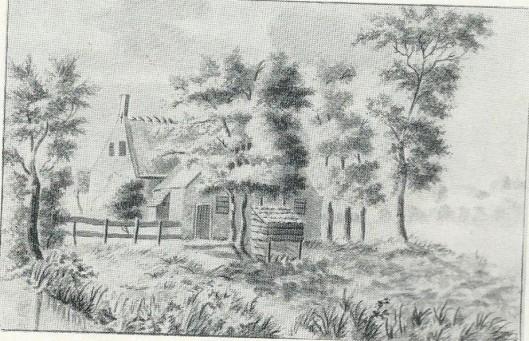 Achter de Geleerde Man. Tekening door H.Scholten, 1820 (NH.Archief)