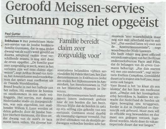 Artikel 'Geroofd Meissen-servies Gutmann nog niet opgeëist' uit het Haarlems Dagblad van 21 augustus 2014