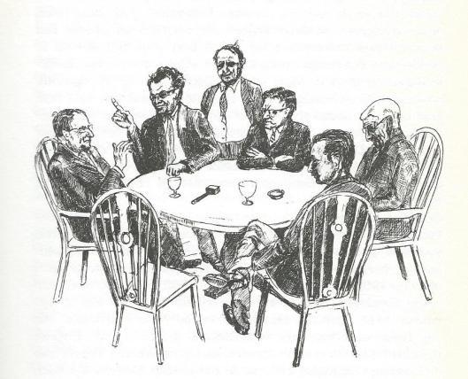 Pentekening van Marius Beek, verschenen in 'The Dutch Dickensian'. V.l.n.r. Marius Beek, Godfried Bomans, J.C.Beek (staande), Frank van Oorschot, Nico Andriessen (vooraan rechts zittend) en Ernst Sachs.