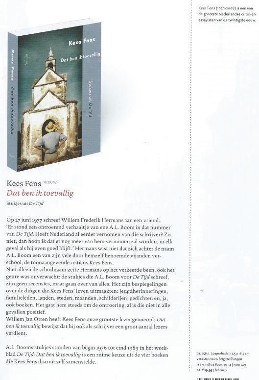 Nieuw: Kees Fens/A.L.Boom. Dat ben ik toevallig. Uit: brochure van uitgeverij Van Tilt, voorjaar 2015.