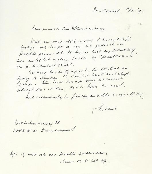 Handschrift van Kees Fens. Brief aan privédrukker Niels Klinkenberg, 11 maart 19191 vanuit Zandvoort verzonden.