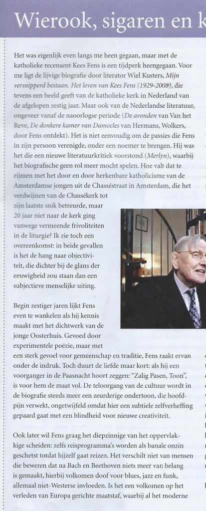 Marcel Poorthuis over Kees Fens. Uit: SamenKerk; uitgave van het bisdom Haarlem - Amsterdam, pagina 21 (1)