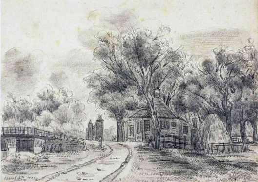 Tolhek Heemstede op een tekening uit 1850 (NHA)