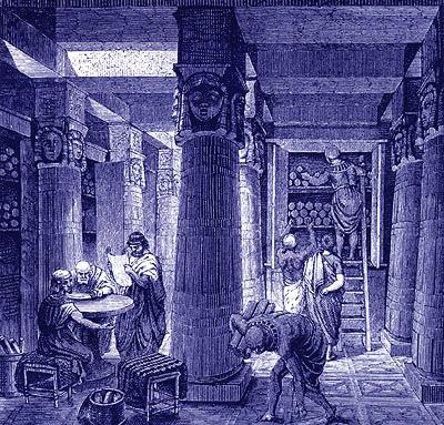 De Hellenistische bibliotheek van Alexandrië (Mouseion en Serapeion) bevatte nog boeken op papyrusrollen.