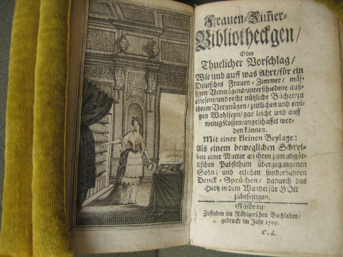 Frauen-Zimmerbibliothecken. Anonieme boekuitgave in Güstrow in 1705 verschenen 'Zu finden im Rüdigerschen Buchhandlung'