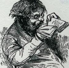 Anonieme tekening van een boekenliefhebber