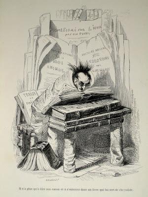 De bibliomaan door J.J.Grandville, 1841