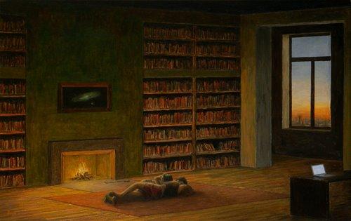'Boekenliefde' .Schilderij door Mibráy Bodó (1957)