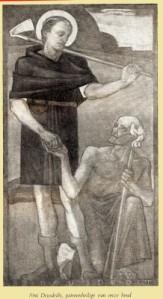 Prentje van de Ierse heilige Deusdedit, die geld geeft aan een arme. Hij zette zich in voor armen en rechtelozen en is gekozen als patroon van de rooms-katholieke landarbeidersbond in Nederland