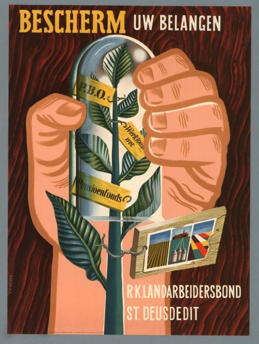 Reclamepster voor de r.l. landarbeidersbond St. Deusdedit, ontworpen door Cor van Velsen omstreeks 1950 (IISG)