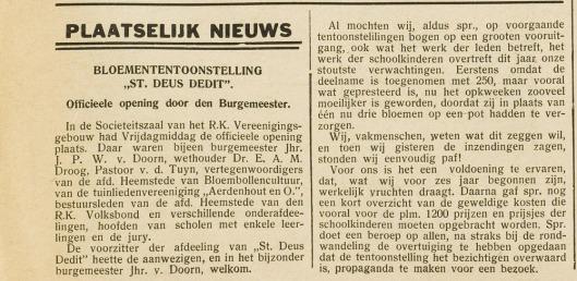Bericht van een door Sint DeusDedit in het Vereenigingsgebouw georganiseerde bloemententoonstelling uit de Heemsteedse Courant van 23 februari 1934