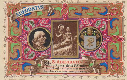 Paus Deusdedit ofwel Adeatus 1 op een Vaticaanse flyer