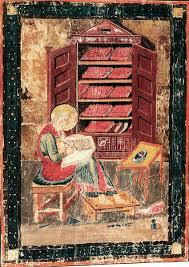 De profeet Ezra schrijft. Frontispice in een 8e eeuwse kopie van een zesde eeuwse Latijnse vertaling van de bijbel, Codex Grandior, door de Romeinse senator Cassiodorus. (Manuscript met miniatuur in de Biblioteca Laurenziana, Florence)
