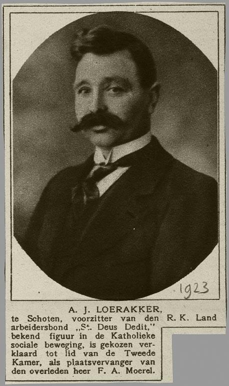 A.J.Loerakker. (knipsel uit de Katholieke Illustratie van 1923)