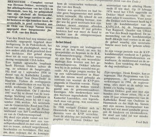 Bericht over uitreiking koninklijke onderscheiding aan Herman Dekker door Fred Belt (26-11-1992)