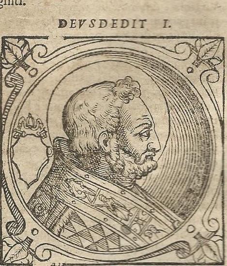 Deusdedit I was paus van 615 tot 618 en is na zijn dood door de katholieke kerk heilig verklaard. Houtgravure uit: Historia de vitis pontificum romanorum', 1646. Standaardwerk samengesteld door B.Platina, bibliothecaris van de Vaticaanse bibliotheek