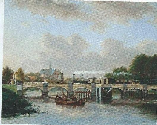 Prent van de eerste stoomtrein die vanuit Amsterdam komende in Haarlem arriveert, 1839