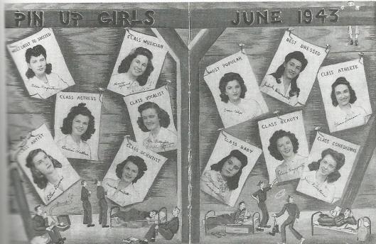 Pin-up girls, June 1943. From Judith Alexander's high school yearbook.