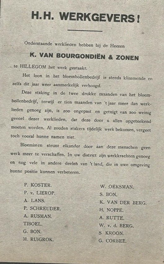 Oproep van bloemist K.van Bourgondien & zonen te Hillegom aan collega-werkgevers in het bloembollenvak om stakers geen werk meer te verschaffen