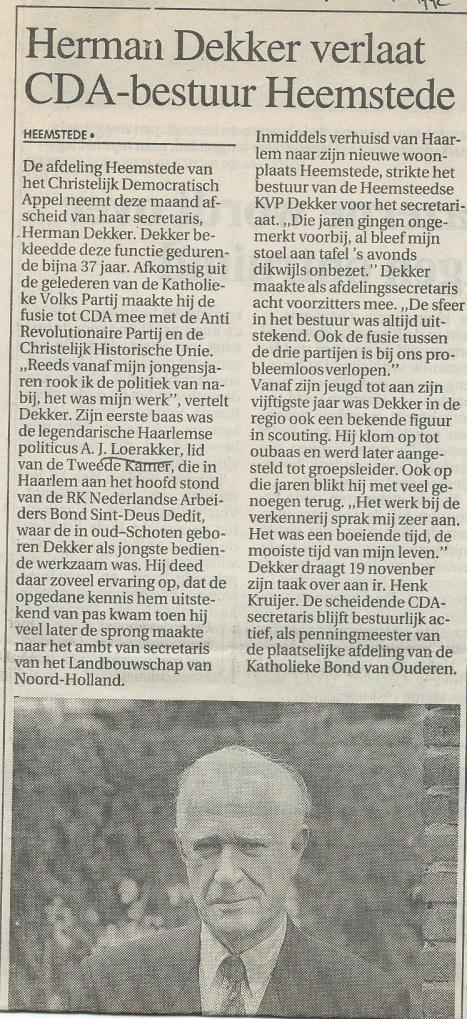 Bericht over Herman Dekker (1924-2010) uit het Haarlems Dagblad van 10-11-1992