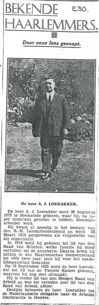 A.J.Loerakker in de serie 'Bekende Haarlemmers' uit het Haarlem's Dagblad van 1935