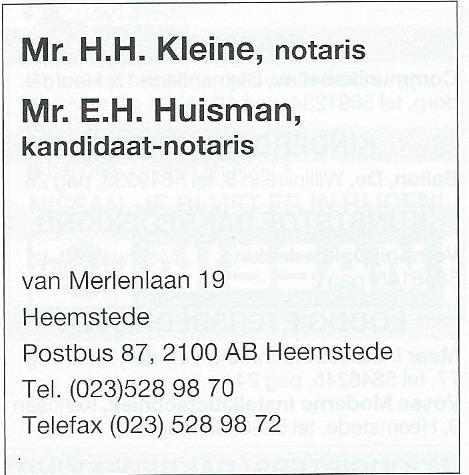 Advertentie van notariskantoor Van Merlenlaan 19 Heemstede uit 1998