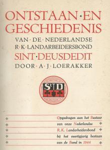 Titelblad van gedenkboek Ned. r.k. Landarbeidersbond Sint-Deusdedit door A.J.Loerakker