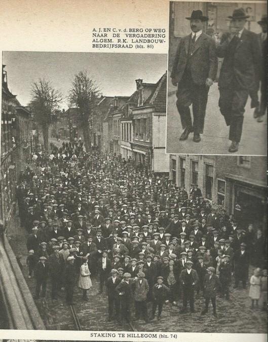 Afbeelding van een staking van arbeiders in de bloembollensector in Hillegom (1918)