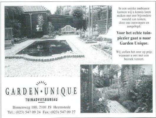 Advertentie van tuinadviesbureau Garden Unique, Binnenweg 180 (2000)