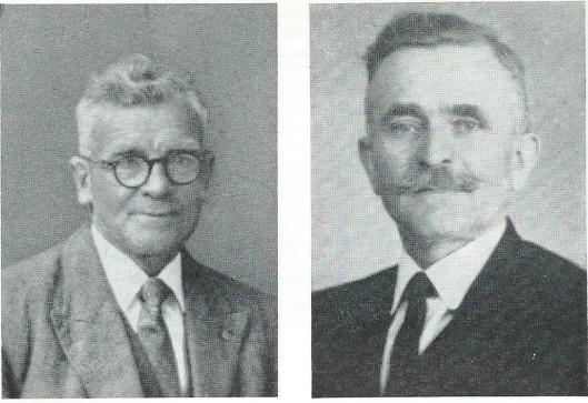 Twee gewaardeerde bestuurders van het eerste uur van de r.k. landarbeidersbond St. Deusdedit. Links G.J.van Unnik, bestuurder van de bond vanaf 8 augustus 1919 tot 31 december 1948 en rechts J.Salman, in dienst getreden van de bond op 7 maart 1917, benoemd tot secretaris in 1918, beëindiging van de dienst 31 december 1949