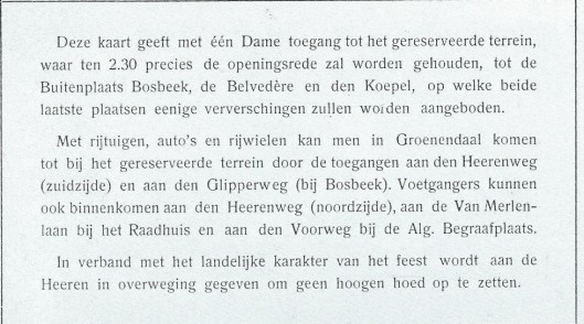 Nog een toegangskaart voor opening van wandelpark Groenendaal op 17 juli 1913